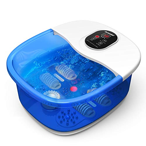 Fußbad Massagegerät, Arealer, Fußreflexzonenmassage elektrischer Spa Heizung mit Infrarotlicht + vibrierende Blasen + Massagerollen + Kräuterbox, Fußwasserwanne für 46 Fuß, lindert Fußschmerzen