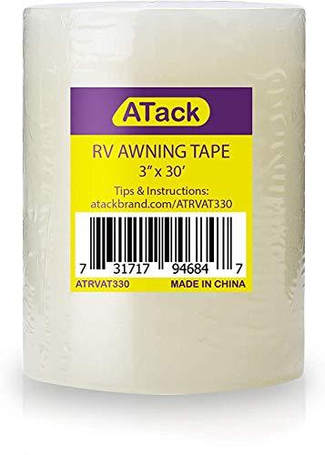 Atack Cinta de reparación de toldos RV, 7,62 cm x 30 pies, resistente al agua y cinta de reparación de tiendas de campaña para vinilo, pinchazos de caravanas, toldos, toldos, tiendas de campaña, lona e invernadero