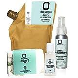 Paquete de Higiene Personal con Gel Antibacterial 70% Alcohol, Spray Antibacterial con Aceites esenciales y Jabón natural de agave