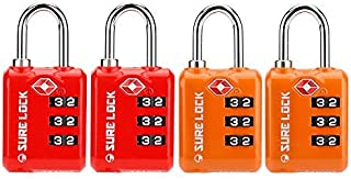 SURE LOCK TSA Approved 3 Digit Luggage Locks with Zinc Alloy Body and Hardened Steel Shackle to Lock Travel Suitcase (RED ...