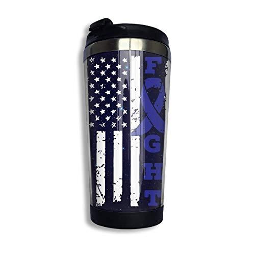 Taza de café de la bandera americana de la conciencia del cáncer de colon con la tapa para el té Taza de viaje del café de acero inoxidable 400 Ml