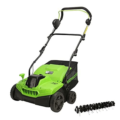 Greenworks Tools Scarificateur à Batterie 40 V GD40SC36 (Li-Ion 40V 36cm largeur de travail 3900 tr/min avec quatre hauteurs de travail différentes réglables sans batterie ni chargeur) Vert/Noir/Gris