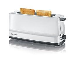 SEVERIN AT 2232 Automatik-Toaster (800 W, 1 Langschlitzkammer, Für bis zu 2 Brotscheiben) weiß/grau
