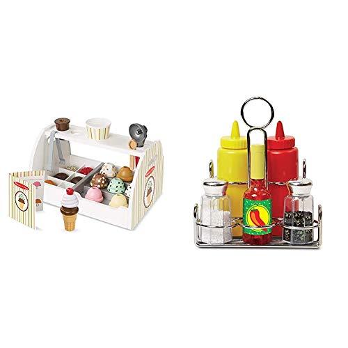 Melissa & Doug - Set de 28 Piezas de Madera para Preparar Helados, Wooden Ice Cream Counter (19286), Color/Modelo Surtido + Juego de condimentos (19358), Color/Modelo Surtido