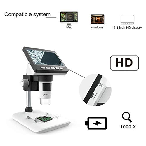 Microscopio Digital, microscopio electrónico 1000X HD reparación del teléfono móvil microscopio Super Clear con 4,3 Pulgadas de Pantalla Microscopio