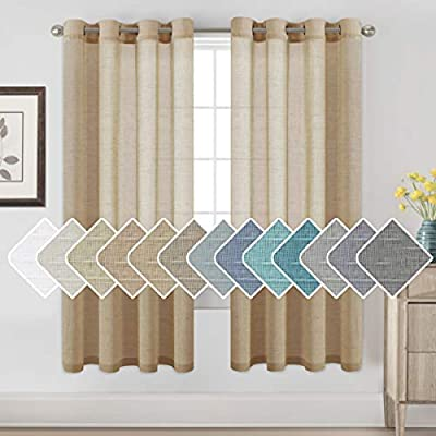 H.VERSAILTEX Window Treatments Linen Curtain Panels Open Weave - Natural Linen Blended Sheer Curtains with Nickel Grommet for Living Room, Privacy Assured (Taffy, 52 by 72 Inch, Set of 2)