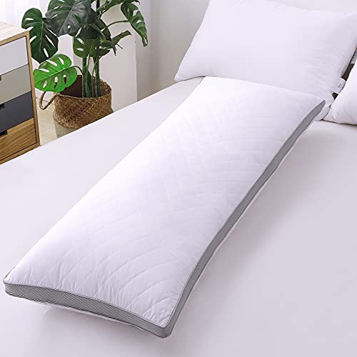 Large Full Body Pillow Long Side Sleeper Loft Quilted Pillows Head Support Pillow for Adults Sleeping 20×54 inch (Single Pack)