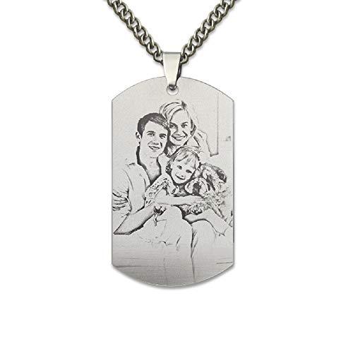 Collar de fotos personalizado personalizado colgante de cadena de plata esterlina 925 con regalo personalizado para hombres/mujeres/niñas/niños/amante