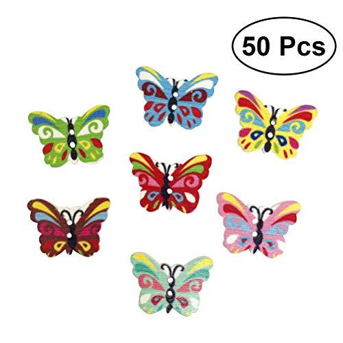 SUPVOX Botones de Madera Forma Mariposa para Costura 50Unidades