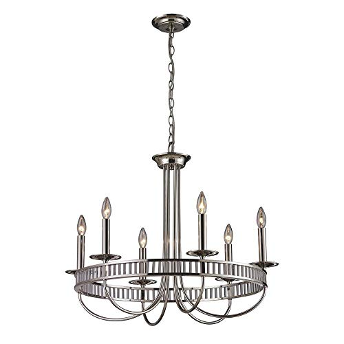 Elk Lighting 6 Light Chandelier, Polished Chrome