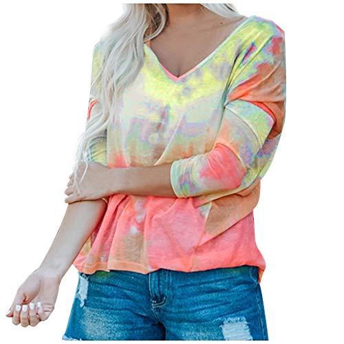 ReooLy Fashion Mujer V-Cuello Gradientes Impresión Manga Larga Pullover Blusas Tops(Multicolor,L)