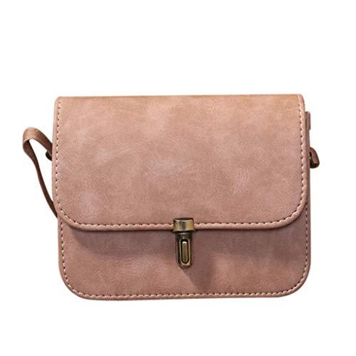 Damen kleine Tasche elegant,2018 Dame Leder Satchel Handtaschen Schulter Taschen Kurier Crossbody Tasche (Rosa)