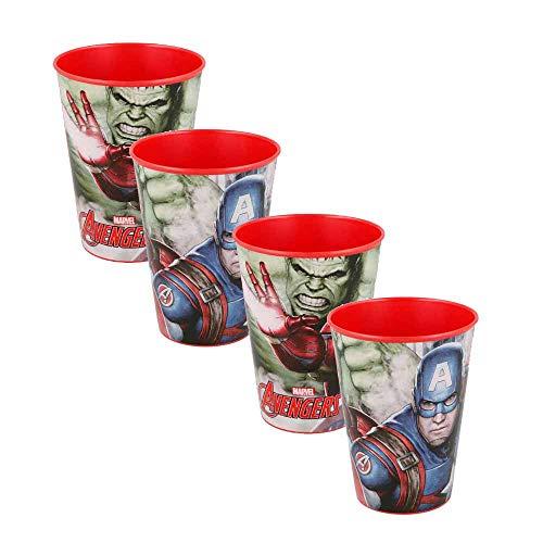 Juego de 4 vasos de plástico duro para niña y niño, varios personajes de 260 ml, con licencia (Avengers rojo)