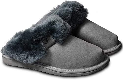 Estro Intimo Damen Lammfell Hausschuhe Echtleder Gefuttert Wolle Pantoffeln Schlappen Schuhe (40, Grau 1)
