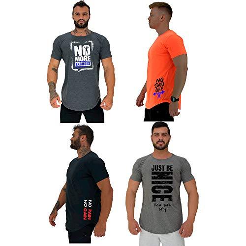 Kit 4 Camiseta Masculina LongLine MXD Conceito Cores Básicas Discretas No More Excuses No Days Off No Pain No Gain Seja Legal (GG)