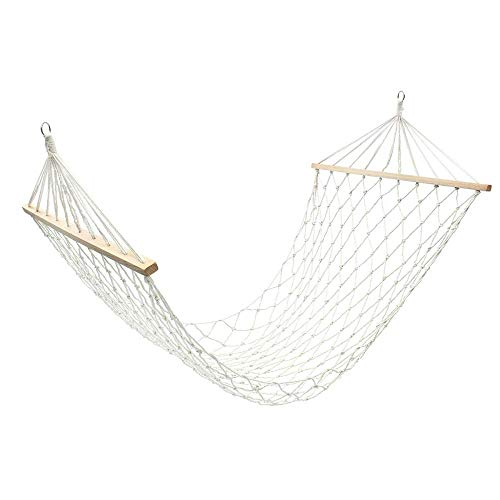 JIAMING Net Rope Double Hammock,with Spreader-bars 200x80cm For Two People,Cotton Rope Reinforcement With Wooden Stick Double Outdoor Swing Hammock