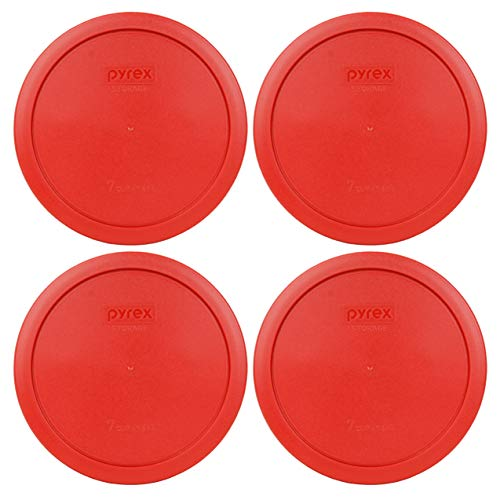 Pyrex 7402-PC 6/7 Cup Poppy Red Round Plastic Food Storage Lid - 4 Pack