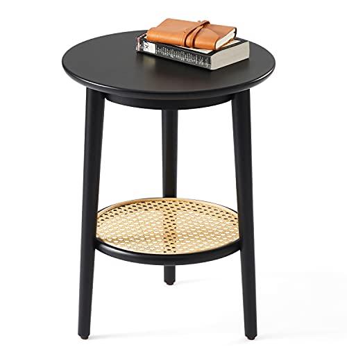 Harmati Mesa auxiliar redonda con almacenamiento, mesa auxiliar negra para sala de estar, dormitorio y espacios pequeños, fácil montaje, patas de madera maciza y ratán natural