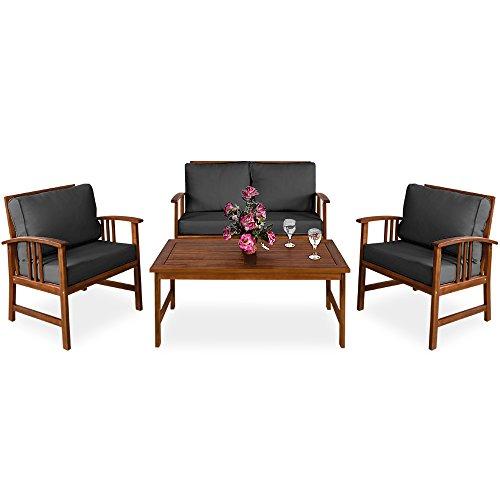 Deuba Conjunto de muebles de Madera de acacia Atlas con cojines color Antracita set de 2 sillas 1 banco 1 mesa para jardín