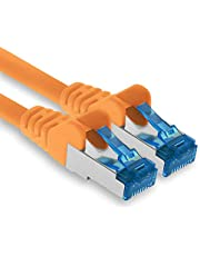 1.5m - Cat.6 - Cable de Red Ethernet Gigabit LAN RJ45 Cat 6 A Cable de conexión 10000 Mbit s Sftp Pimf 500 MHz Compatible con CAT5 CAT6 CAT7 Cat8 Naranja - 1 Pieza
