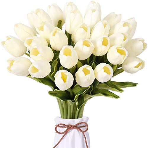 FENGRUIL 30 Pcs Artificial Tulips Flowers, 14'' PU Real Touch Bridal Flowers Bouquet for Home Office Party Wedding Festival Table Centerpiece Decoration (White)