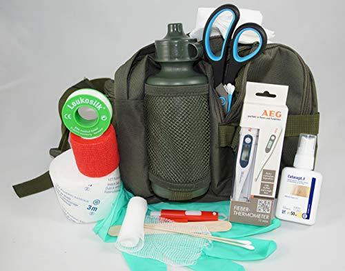 apotier24 1.-Erste-Hilfe-Set speziell für den Hund (mit 0,5 l-Flasche)-Oliv -– enthält NUR notwendige Artikel (Keine Spritzen usw.)- für Notfall, Wanderung, Sport, Jagd