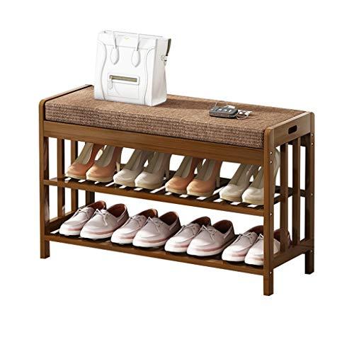 Hall d'entrée pour banc à chaussures à 2 niveaux | Range-chaussures en bois massif avec coussin de siège amovible brun | Armoire à chaussures Bamboo Portable Change Shoe Stool - 4 tailles