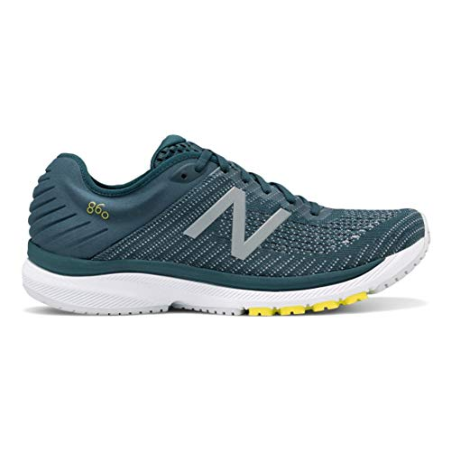 New Balance Men's 860v10 Running Shoes (8.5 Wide, Supercell with Orion Blue & Sulphur Yellow)