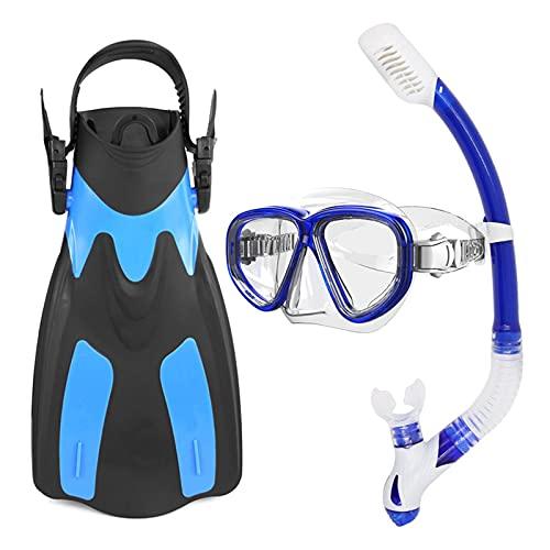 Aletas de Buceo Máscara de Buceo Gafas de Buceo Aletas de Buceo Gafas de Snorkel Set de Aletas Set Snorkeling Vidrio Aletas de natación Snorkel Engranaje Paquete (Color : Blue)