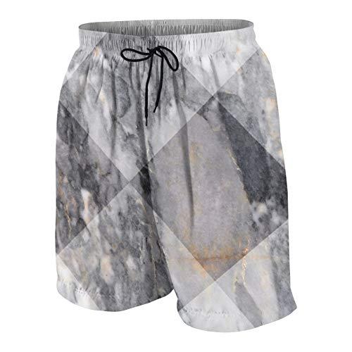 SUHOM Uomo Casuale Pantaloncini da Surf,Piastrelle Decorative in Marmo Grigio,Asciugatura Veloce Costume da Bagno Sportivo Abbigliamento da Spiaggia con Fodera in Rete