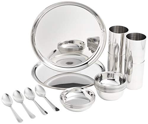Amazon Brand - Solimo Stainless Steel Dinnerware Set - 24 Pieces