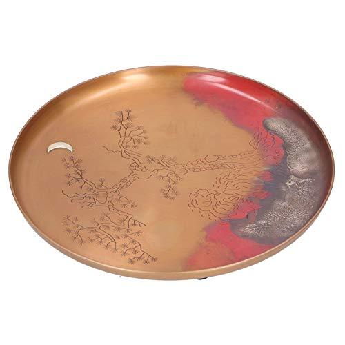 Bandeja de mesa de té decorativa, bandeja de servicio de plato de soporte de taza de té redonda hecha a mano japonesa, accesorio de té de Kung Fu para decoración del hogar