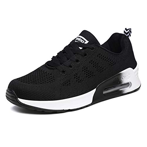 Youecci Zapatillas de Deportivos de Running para Mujer Deportivo de Exterior Interior Gimnasia Ligero Sneakers Fitness Atlético Caminar Zapatos Transpirable Negro 38 EU