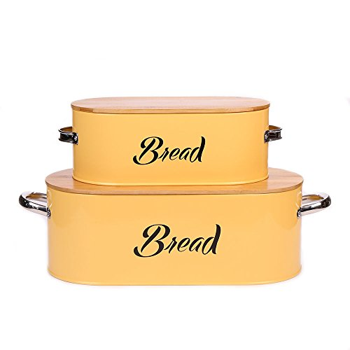 X560 Vintage Set of 2 Metal Kitchen Storage Tin canister Bread box/Bin/container Large With Bamboo Lid (yellow)