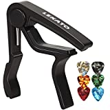 Guitar Capo with 6 Guitar Picks,LEKATO LGC-1 Quick Change Capos for Acoustic Electric