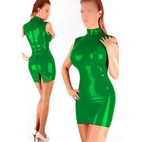 Camisón Sexy Mujer Elegante Mini Vestido De PVC Clubwear De Cuello Alto Lencería Sexy De Vinilo para Mujeres con Cremallera Bidireccional-Green_3XL