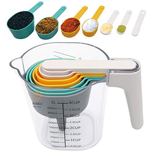 ROSSELLS Measuring Jug & Measuring Spoons Set - Plastic Measuring Cup Set - Spoons, Scraper & Funnel - BPA Free Kitchen Baking Utensils Dishwasher Safe (9 Pcs)