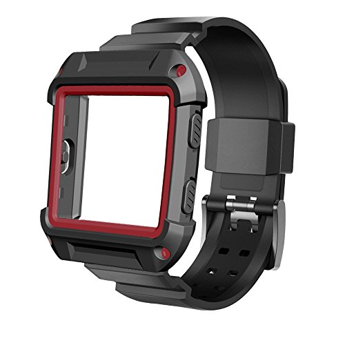 Bands with Case Compatible for Fitbit Blaze, Silicone Sports Replacement Strap Band and Rugged Pro Resistant Protective Cover Accessory Compatible with Fitbit Blaze Smart Fitness Watch (Black/Red)