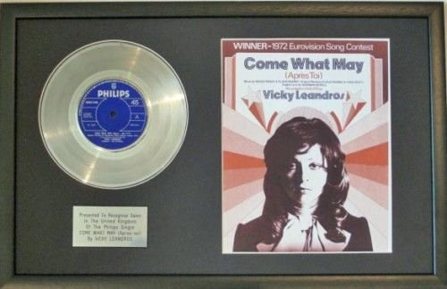 UK Music Awards Vicky Leandros Platin-Scheibe und Songblatt - Come, What May