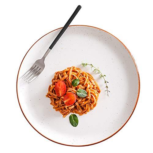 platos De Cerámica para Bistec Plano Creativo Italiano Blanco Redondo Ensalada De Frutas, Ramen, Blanco (no Incluido) (Color : Blanco, Size : 27.5 * 2.5cm)