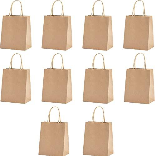 10 Stukken Kraft Papieren Zak, Papieren Zak met Handvat, Handvat Papieren Zak, voor Gebruikt om te Winkelen, Mee te Nemen, Verjaardagsfeestjes, Cadeauzakjes, Enz(Houtkleur)
