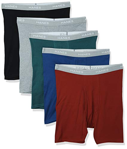 Hanes Men#039s Tagless Exposed Waistband Boxer Briefs Assortment 1 Large