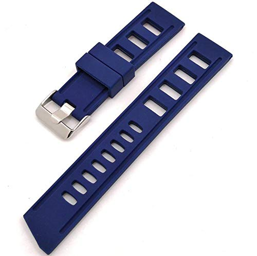 Correa de reloj de alta calidad en estilo de buceo con patrón de agujeros azul o negro, de silicona resistente y elástica en 20 o 22 mm de ancho
