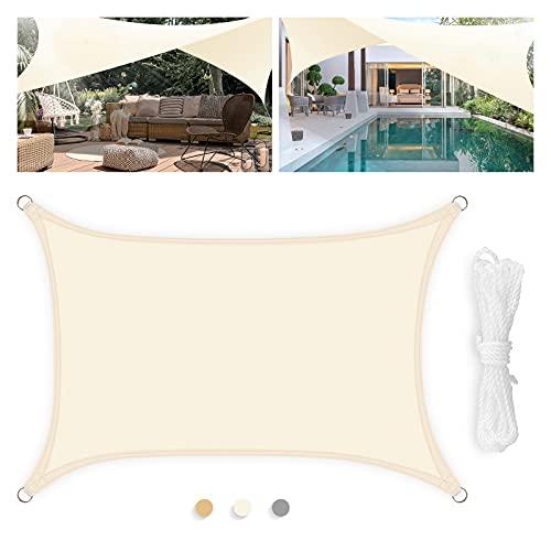 Levesolls Tenda a Vela Parasole Rettangolare 4×3m Telo da Sole Esterno Vela Ombreggiante in HDPE, Impermeabile Antivento Protezione UV, Crema