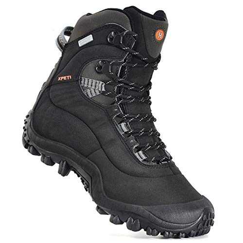 Manfen Men's Thermator Mid-Rise Waterproof Hiking Boots Trekking Outdoor Boots (Black, numeric_9)