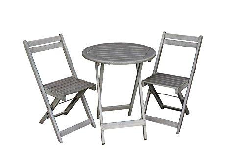 Juego de muebles de jardín | Mesa con 2sillas | Muebles de balcón | Mesa y sillas plegables | Gris mate | Acacia 100% FSC | Madera dura resistente a la intemperie | Mesa de 72cm de alto