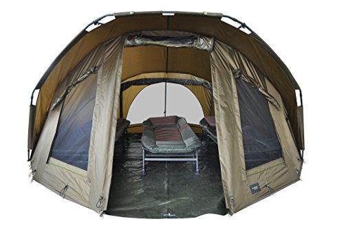MK-Angelsport Fort Knox 3-4 Personen Dome Innenhöhe: 1.8m Zelt Karpfenzelt wasserfest und temperaturstabiles Angelzelt incl. Gummihammer