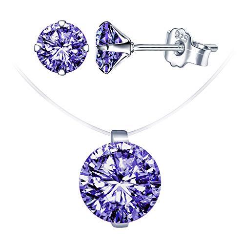 Conjuntos de joyas de diamantes, collar de gargantilla con hilo de pescar invisible, gargantilla para mujer, pendientes de diamantes, en plata 925, regalo de Navidad y cumpleaños
