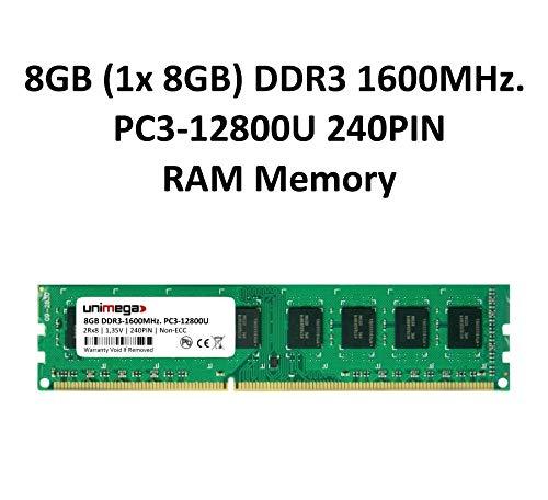 unimega 8GB (1x 8GB Modul) DDR3 1600MHz PC3-12800U 240PIN Non-ECC PC RAM Speicher Memory