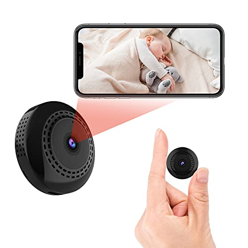 Mini WiFi Spy Camera, 1080P Hidden Camera with Audio and Video, Ultra Lightweight Mini Nanny Camera with Night Vision and Motion Detection for Home and Office Security